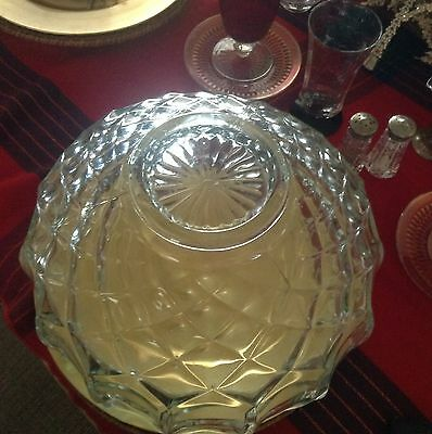 Antque Huge Crystal Diamond Pattern Bowl Nice For Cocktails Fruits Extra Heavy