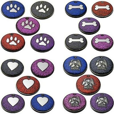 Engraved Pet Tags DOG ID Disc Glitter 25mm Disc FREE Post & Deep Engraving