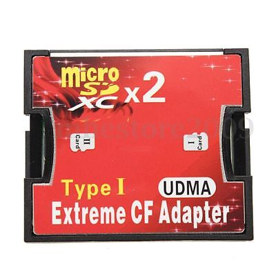 MicroSD X 2 to CF CompactFlash Memory Card MicroSDXC Extreme Adapter Up to 512GB