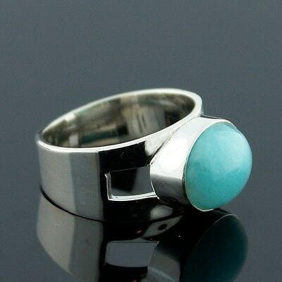 Modern 925 Sterling Silver Oval Amazonite Ring Size 8
