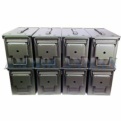 Unstenciled 8-Pack! Eight Brand New Mil-Spec 50 Cal Ammo Cans M2A1 Empty