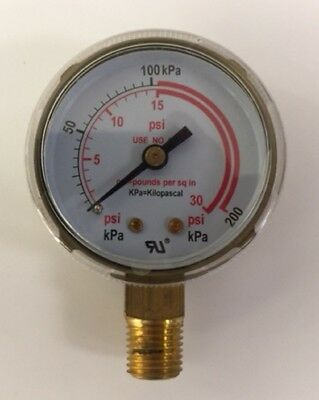 "2-1/2""X30 PSI  pressure gauge for Acetylene Regulator 0-30 PSI 1/4""-18NPT 2.5-30"
