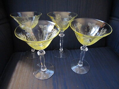 "4 Vintage ETCHED Yellow CRYSTAL Wine STEMWARE Champagne GLASSES Floral 6.75""Hx4"""