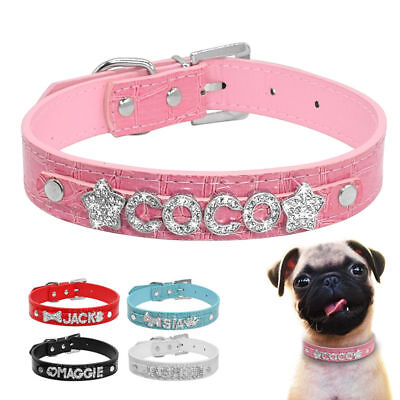 Rhinestone PU Leather Personalized Dog Collars Customized Pet Cat Puppy ID Name