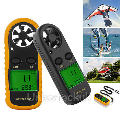 LCD Digital Anemometer Handheld Wind Sailing Speed Velocity Meter ThermometerNew