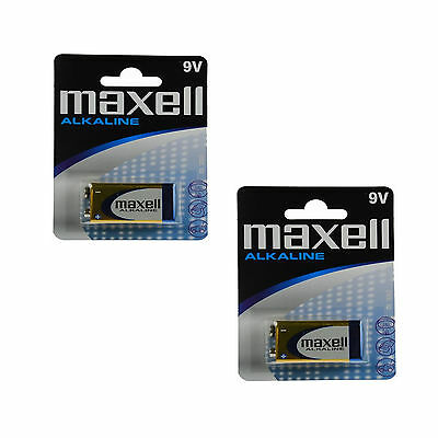 2 Maxell 9V Cheap Alkaline Battery 6LR61 MN1604 E-BLOCK Batteries