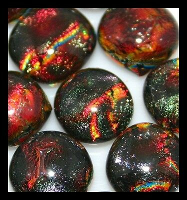 Lot of 12 SURPRISE MOCHA BROWN Fused Glass DICHROIC Cabochons NO HOLE Beads