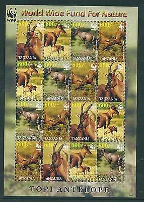 Tanzania 2006 World Wildlife Fund Topi Antelope sheetlet of 16 unmounted mint