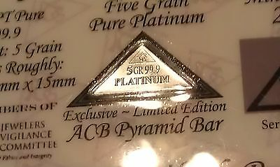 99.9 Pure Platinum ACB 5Grain Pyramid bar with Certificate of Authenticity