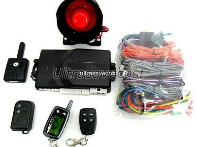 High Quality 2 Way LCD Remote Car Alarm System Engine Start Turbo Timer Siren