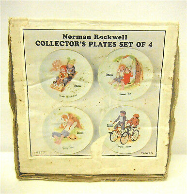 4 Norman Rockwell Seasons Collectors Plates Hanging Deco Taiwan Vintage Unused
