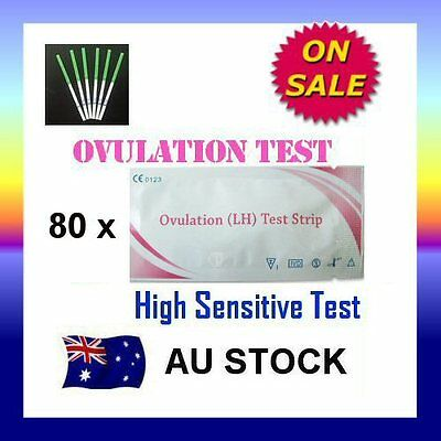 80 x Ovulation (LH) Test Strips Urine Fertility Kit OPK High Sensitive