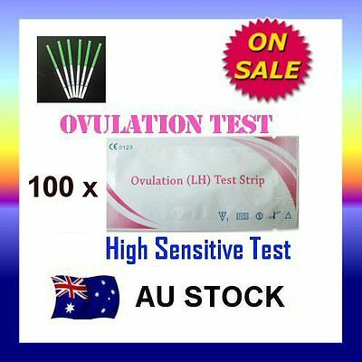 100 x Ovulation (LH) Test Strips Urine Fertility Kit OPK High Sensitive