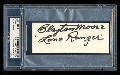 Clayton Moore The Lone Ranger Signed Cut Autographed Psa/dna Slabbed Mint