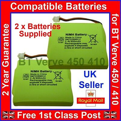 2 x Rechargeable Batteries for BT Verve 450 Home Telephones NiMH 2.4V 600mAh UK