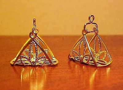 Traditional 1:9 Model Horse Scale FILIGREE ARABIAN STIRRUPS - Gold Plated Brass