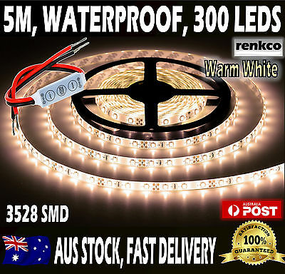 Waterproof Warm White LED Strip Lights 12V 5M 3528 SMD 300 Leds Light + Dimmer