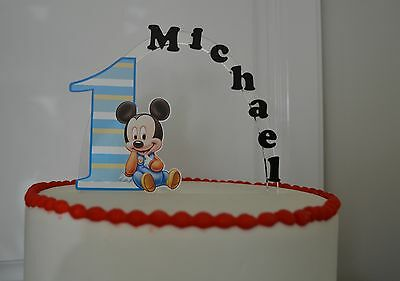 Baby Mickey Mouse 1st PERSONALIZED cake topper orANY character Cake Decoration