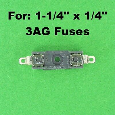 """Double Fuse Block 300V 30A Holder 1-1/4"""" x 1/4"""" 6.3x32 6x32mm Dual Chassis Mount"""