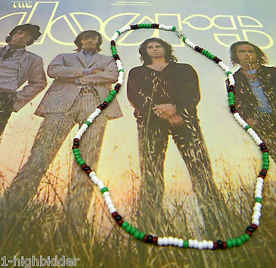 "21"" Jim Morrison Style Handmade Bead Necklace Orig. Green White Black The Doors"