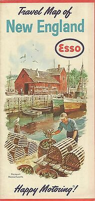 1963 ESSO GAS Lobster Pot Road Map NEW ENGLAND Rockport Masschusetts Humble Oil