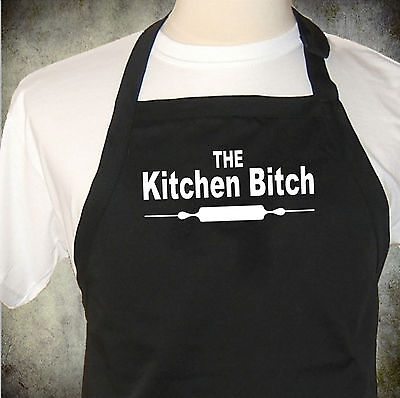 funny apron The Kitchen Bitch mens or ladies full chefs length black or white.