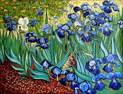 Van Gogh Irises in the Garden Repro, Hand Painted Oil Painting, 36x48in