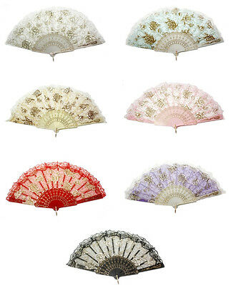 New Chinese Victorian Wedding Dance Lace Silk Folding Hand Fan Lady Favorite