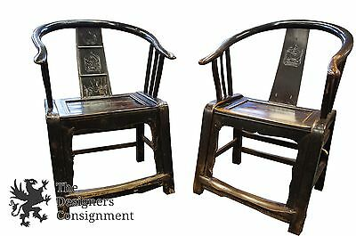 2 Antique Chinese Lacquer Chairs Hand Made Horseshoe Back Lounge Seat James Mont
