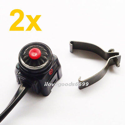 2x Universal One Push Button Kill Stop On/Off Switch Motorcycle MX Dirt Pit Bike