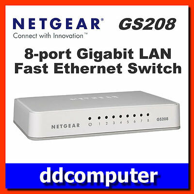 Netgear GS208 8-Port Gigabit Switch 10/100/1000mbps Ethernet LAN Desktop Hub