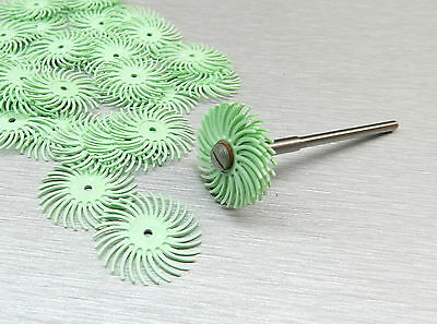 "3M RADIAL BRISTLE DISC 1micron BRISTLE BRUSH LIGHT GREEN 3/4"" 24pcs with MANDREL"