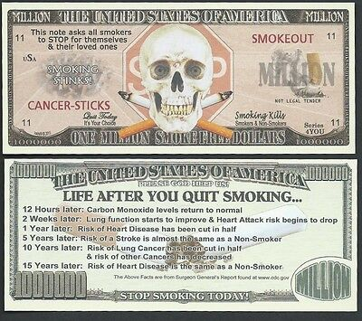 Lot of 100 BILLS- STOP SMOKING / ONE MILLION SMOKE-FREE DOLLARS