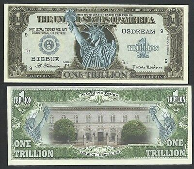 STATUE OF LIBERTY TRILLION w DENVER MINT NOVELTY BILL - Lot of 10 BILLS-