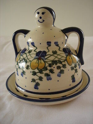 Boleslawiec Pottery Poland 2 PC Lady Cheese or Butter Dish