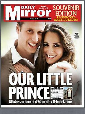 Prince William And Kate Middleton Birth Of Royal Baby Daily Mirror Newspaper