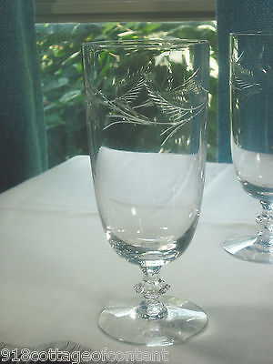 TIFFIN CUT POLISHED LEAVES ICED TEA GOBLET (8) available stem # 17489 EXC