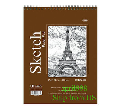 "BAZIC Top Bound Spiral Premium Sketch Pad 6"" x 8"", 50ct/book #5043"
