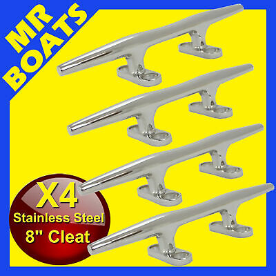 "4X 8"" 200mm - BOAT CLEAT -Stainless Steel Slimline HEAVY DUTY Rope Tie BRAND NEW"