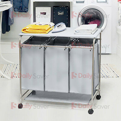 Laundry Hamper 3 Washing Basket Bag Sort + Ironing Board Trolley Clothes Storage