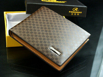 Stylish Men's Leather Wallet Pocket Card Clutch Bifold Purse New + package