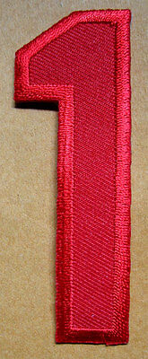 NUMBER ONE NO.1 #1 Red Embroidered Iron on Patch + Free Shipping