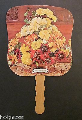 VINTAGE ADVERTISING HAND FAN / CREATE FLOWER SHOP / 40's -50's PONCE PUERTO RICO