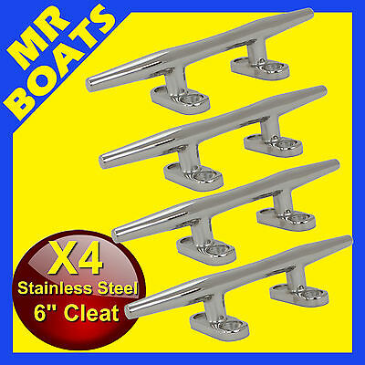 "4X 6"" 150mm ✱ BOAT CLEAT ✱Stainless Steel Slimline HEAVY DUTY Rope Tie BRAND NEW"