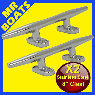"""2X 8"""" 200mm ✱ BOAT CLEAT ✱Stainless Steel Slimline H-DUTY Rope Tie FREE POST NEW"""
