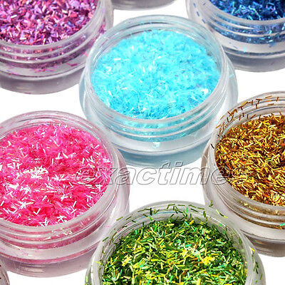 12 different colors of Nail Art Mini Rectangle Glitter Sheets