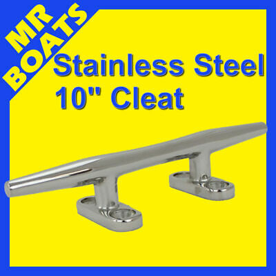 "10"" 250mm ✱ BOAT CLEAT ✱ Stainless Steel Slimline HEAVY DUTY Rope Tie FREE POST"