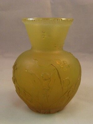 Daum miniature art glass yellow vase with floral motif signed