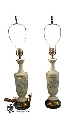 Pair Mid Century Ceramic Cherry Blossom Lamps White Gold And Brass Base Gilding