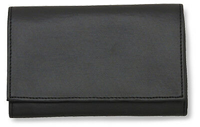 Black Leather Vinyl Lined Tri-Fold Rollup Pipe Tobacco Pouch - 1183